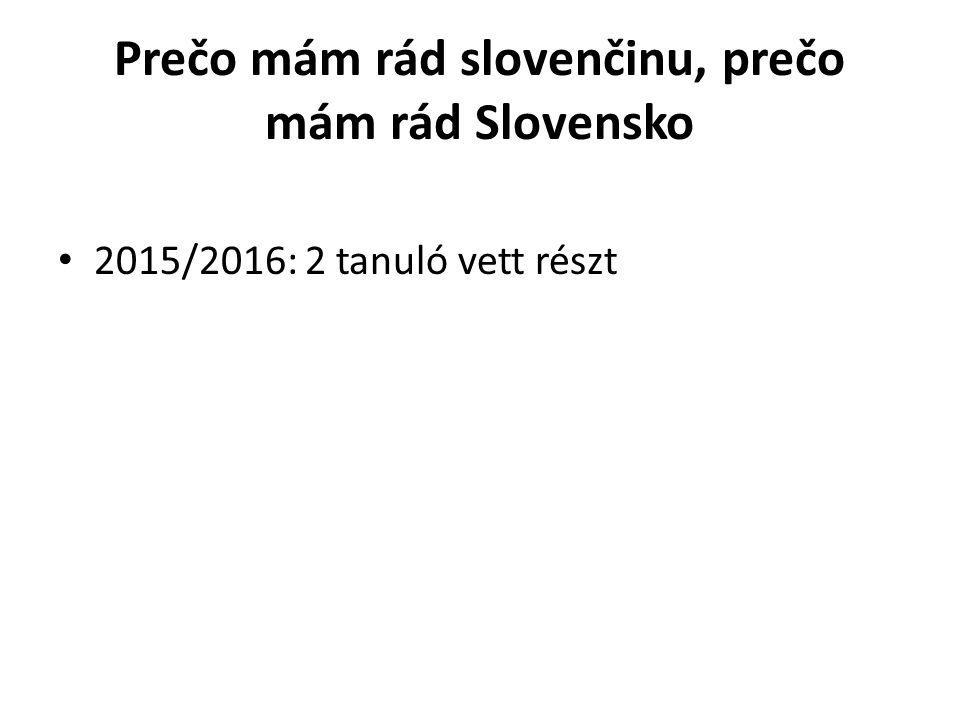 Prečo mám rád slovenčinu, prečo mám rád Slovensko 2015/2016: 2 tanuló vett részt