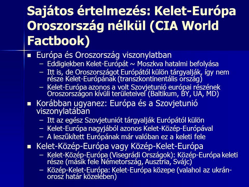 Sajátos értelmezés: Kelet-Európa Oroszország nélkül (CIA World Factbook) Európa és Oroszország viszonylatban – –Eddigiekben Kelet-Európát ~ Moszkva hatalmi befolyása – –Itt is, de Oroszországot Európától külön tárgyalják, így nem része Kelet-Európának (transzkontinentális ország) – –Kelet-Európa azonos a volt Szovjetunió európai részének Oroszországon kívüli területeivel (Baltikum, BY, UA, MD) Korábban ugyanez: Európa és a Szovjetunió viszonylatában – –Itt az egész Szovjetuniót tárgyalják Európától külön – –Kelet-Európa nagyjából azonos Kelet-Közép-Európával – –A leszűkített Európának már valóban ez a keleti fele Kelet-Közép-Európa vagy Közép-Kelet-Európa – –Kelet-Közép-Európa (Visegrádi Országok): Közép-Európa keleti része (másik fele Németország, Ausztria, Svájc) – –Közép-Kelet-Európa: Kelet-Európa közepe (valahol az ukrán- orosz határ közelében)