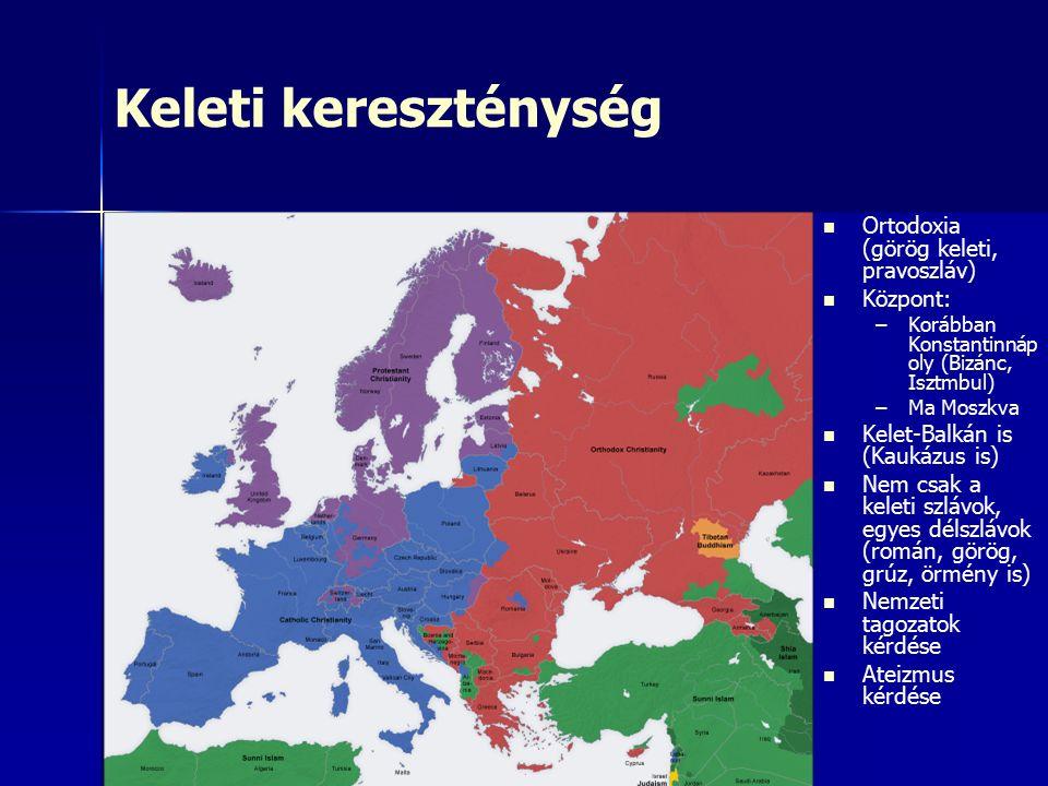 Keleti kereszténység Ortodoxia (görög keleti, pravoszláv) Központ: – –Korábban Konstantinnáp oly (Bizánc, Isztmbul) – –Ma Moszkva Kelet-Balkán is (Kaukázus is) Nem csak a keleti szlávok, egyes délszlávok (román, görög, grúz, örmény is) Nemzeti tagozatok kérdése Ateizmus kérdése