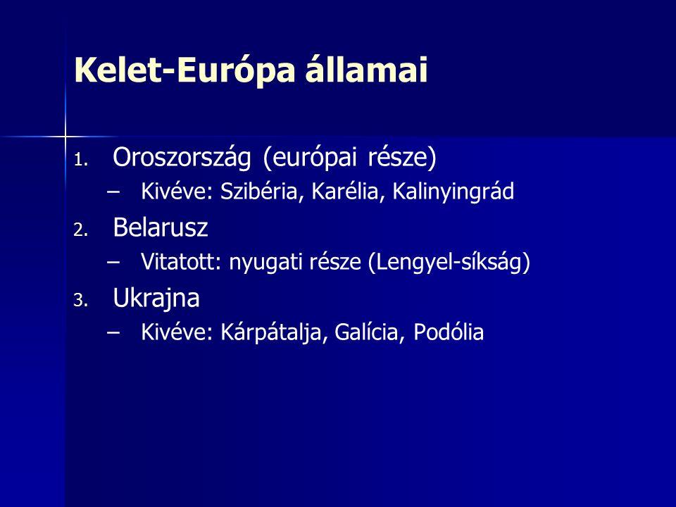 Kelet-Európa államai 1. 1. Oroszország (európai része) – –Kivéve: Szibéria, Karélia, Kalinyingrád 2. 2. Belarusz – –Vitatott: nyugati része (Lengyel-s