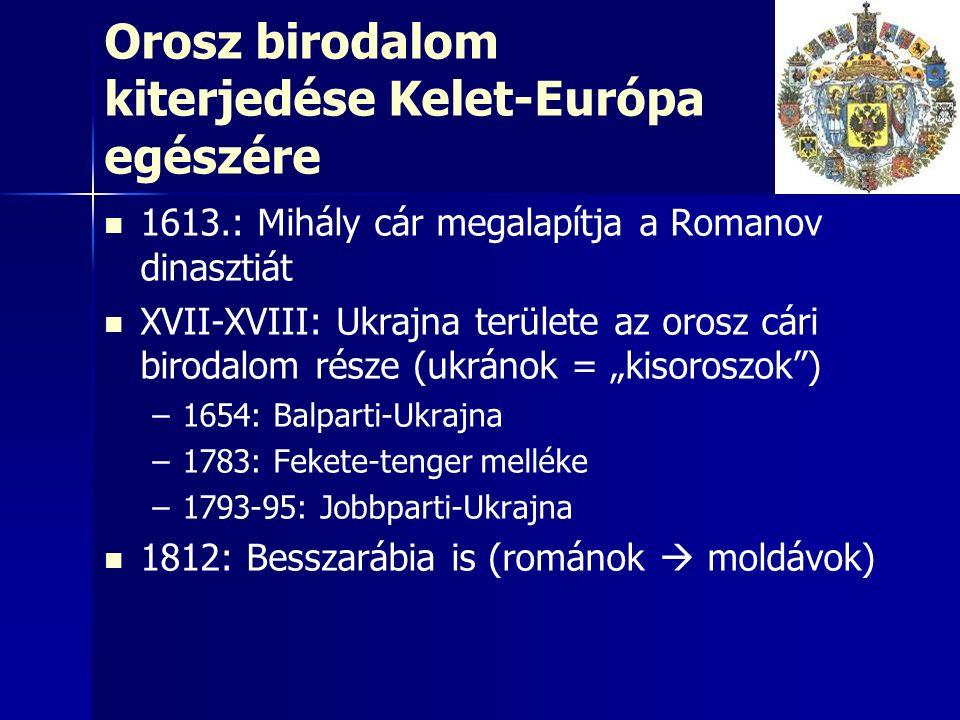 Orosz birodalom kiterjedése Kelet-Európa egészére 1613.: Mihály cár megalapítja a Romanov dinasztiát XVII-XVIII: Ukrajna területe az orosz cári biroda
