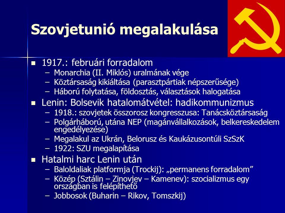 Szovjetunió megalakulása 1917.: februári forradalom – –Monarchia (II. Miklós) uralmának vége – –Köztársaság kikiáltása (parasztpártiak népszerűsége) –
