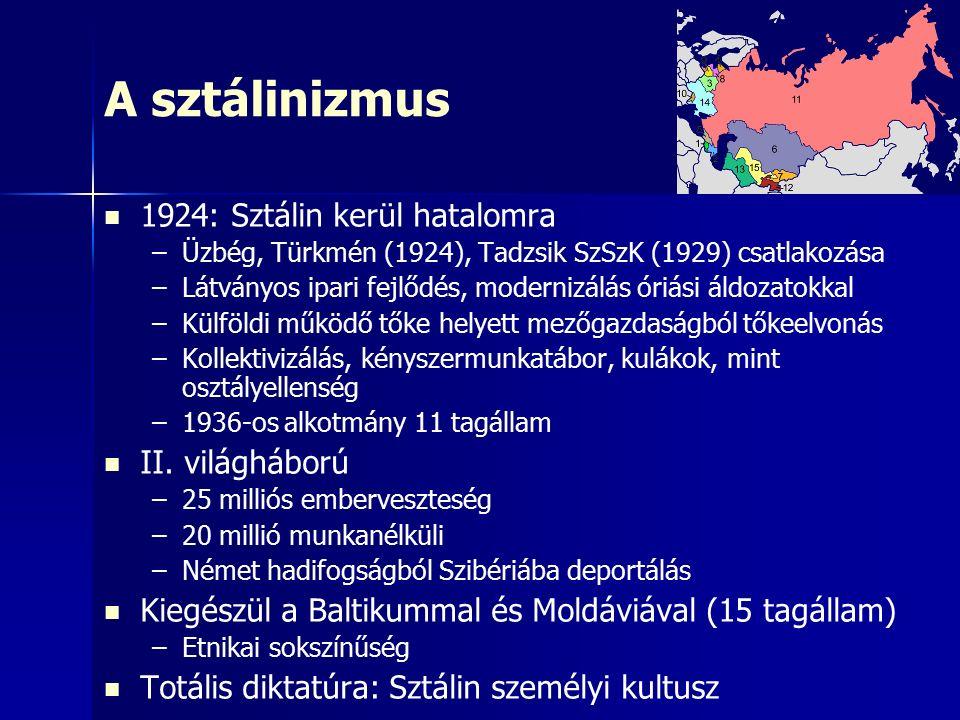 A sztálinizmus 1924: Sztálin kerül hatalomra – –Üzbég, Türkmén (1924), Tadzsik SzSzK (1929) csatlakozása – –Látványos ipari fejlődés, modernizálás óriási áldozatokkal – –Külföldi működő tőke helyett mezőgazdaságból tőkeelvonás – –Kollektivizálás, kényszermunkatábor, kulákok, mint osztályellenség – –1936-os alkotmány 11 tagállam II.