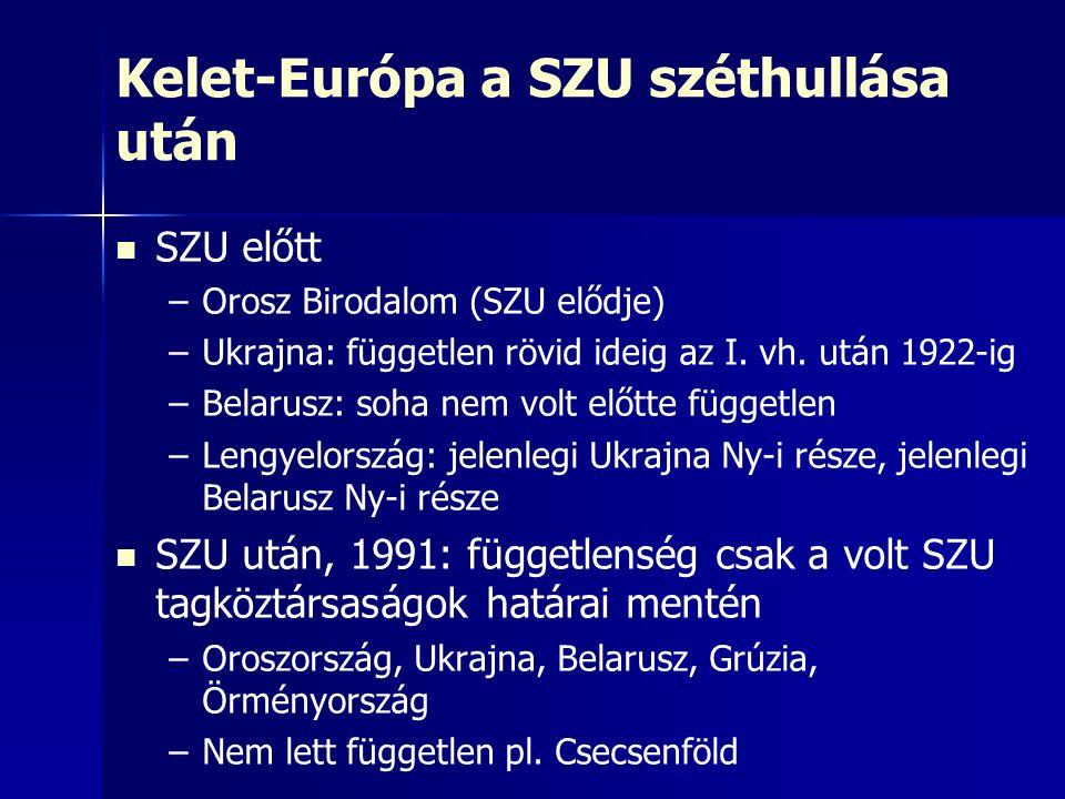 Kelet-Európa a SZU széthullása után SZU előtt – –Orosz Birodalom (SZU elődje) – –Ukrajna: független rövid ideig az I. vh. után 1922-ig – –Belarusz: so