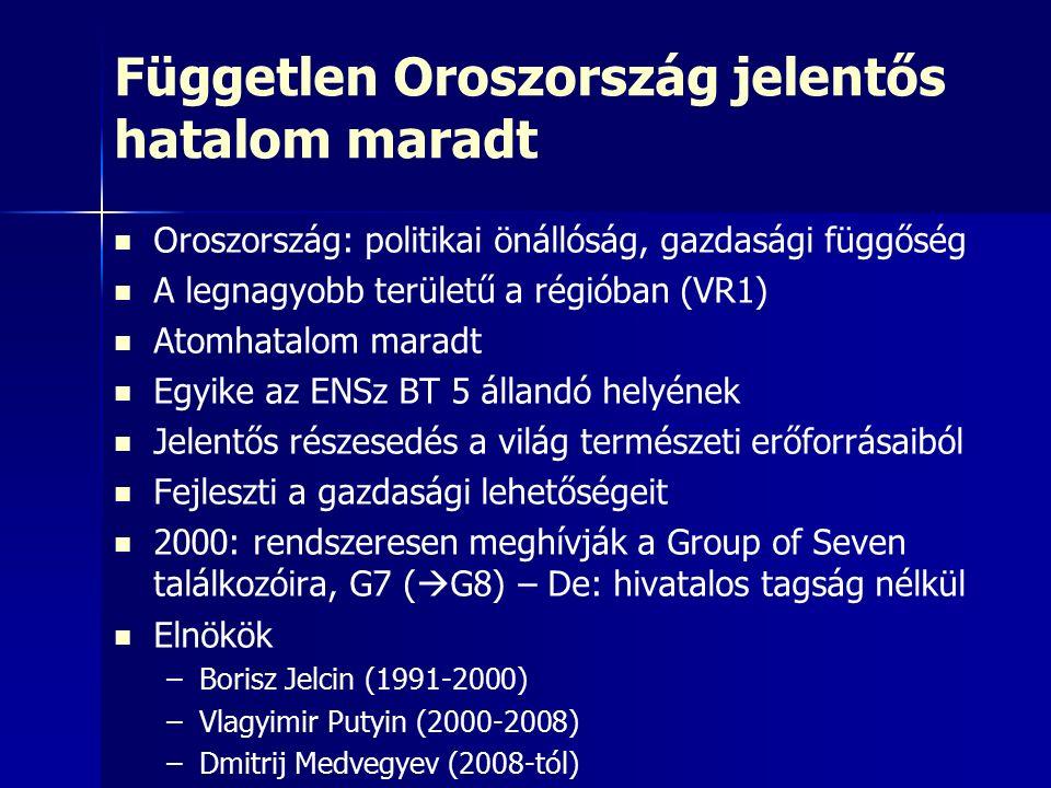 Független Oroszország jelentős hatalom maradt Oroszország: politikai önállóság, gazdasági függőség A legnagyobb területű a régióban (VR1) Atomhatalom maradt Egyike az ENSz BT 5 állandó helyének Jelentős részesedés a világ természeti erőforrásaiból Fejleszti a gazdasági lehetőségeit 2000: rendszeresen meghívják a Group of Seven találkozóira, G7 (  G8) – De: hivatalos tagság nélkül Elnökök – –Borisz Jelcin (1991-2000) – –Vlagyimir Putyin (2000-2008) – –Dmitrij Medvegyev (2008-tól)