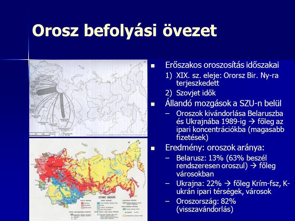 Orosz befolyási övezet Erőszakos oroszosítás időszakai 1) 1)XIX.