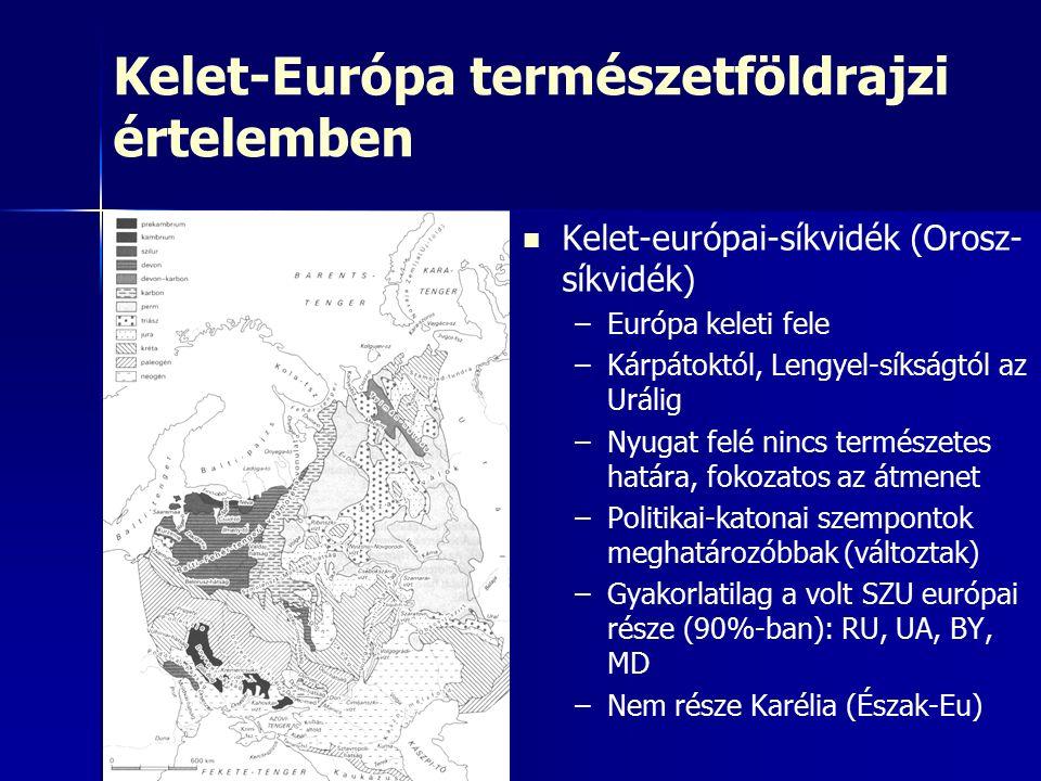 Kelet-Európa természetföldrajzi értelemben Kelet-európai-síkvidék (Orosz- síkvidék) – –Európa keleti fele – –Kárpátoktól, Lengyel-síkságtól az Urálig – –Nyugat felé nincs természetes határa, fokozatos az átmenet – –Politikai-katonai szempontok meghatározóbbak (változtak) – –Gyakorlatilag a volt SZU európai része (90%-ban): RU, UA, BY, MD – –Nem része Karélia (Észak-Eu)
