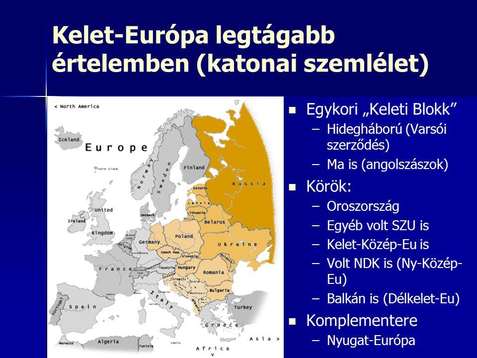 """Kelet-Európa legtágabb értelemben (katonai szemlélet) Egykori """"Keleti Blokk – –Hidegháború (Varsói szerződés) – –Ma is (angolszászok) Körök: – –Oroszország – –Egyéb volt SZU is – –Kelet-Közép-Eu is – –Volt NDK is (Ny-Közép- Eu) – –Balkán is (Délkelet-Eu) Komplementere – –Nyugat-Európa"""