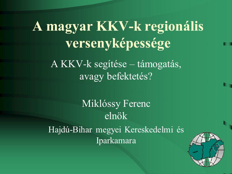 A magyar KKV-k regionális versenyképessége A KKV-k segítése – támogatás, avagy befektetés.