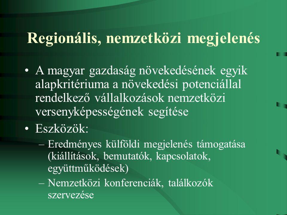 Regionális, nemzetközi megjelenés A magyar gazdaság növekedésének egyik alapkritériuma a növekedési potenciállal rendelkező vállalkozások nemzetközi versenyképességének segítése Eszközök: –Eredményes külföldi megjelenés támogatása (kiállítások, bemutatók, kapcsolatok, együttműködések) –Nemzetközi konferenciák, találkozók szervezése