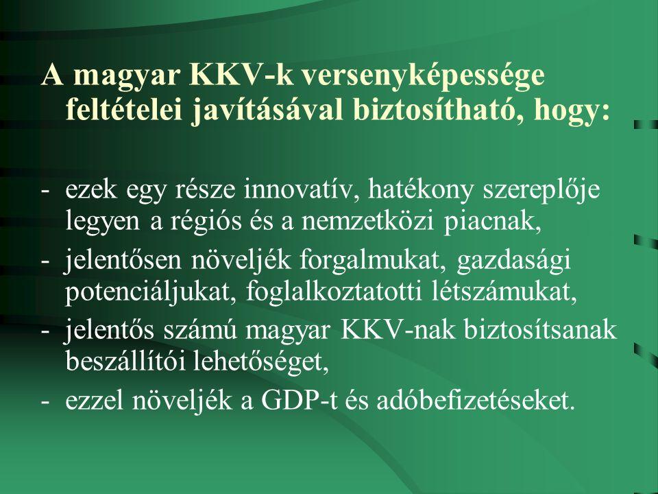 A magyar KKV-k versenyképessége feltételei javításával biztosítható, hogy: -ezek egy része innovatív, hatékony szereplője legyen a régiós és a nemzetközi piacnak, -jelentősen növeljék forgalmukat, gazdasági potenciáljukat, foglalkoztatotti létszámukat, -jelentős számú magyar KKV-nak biztosítsanak beszállítói lehetőséget, -ezzel növeljék a GDP-t és adóbefizetéseket.