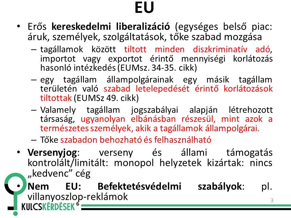 EU Erős kereskedelmi liberalizáció (egységes belső piac: áruk, személyek, szolgáltatások, tőke szabad mozgása – tagállamok között tiltott minden diszkriminatív adó, importot vagy exportot érintő mennyiségi korlátozás hasonló intézkedés (EUMsz.