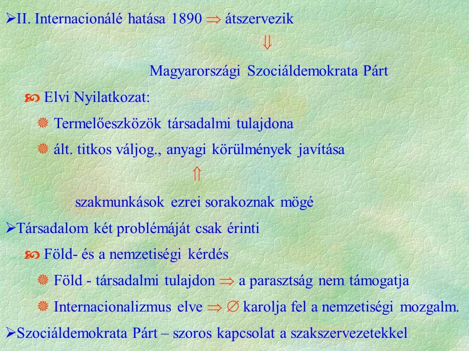  II. Internacionálé hatása 1890  átszervezik  Magyarországi Szociáldemokrata Párt  Elvi Nyilatkozat:  Termelőeszközök társadalmi tulajdona  ált.