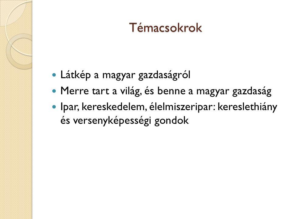 Témacsokrok Látkép a magyar gazdaságról Merre tart a világ, és benne a magyar gazdaság Ipar, kereskedelem, élelmiszeripar: kereslethiány és versenykép