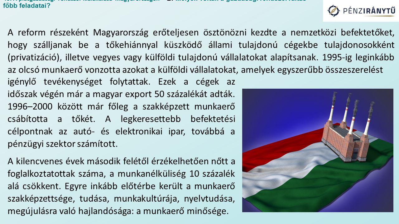 A reform részeként Magyarország erőteljesen ösztönözni kezdte a nemzetközi befektetőket, hogy szálljanak be a tőkehiánnyal küszködő állami tulajdonú cégekbe tulajdonosokként (privatizáció), illetve vegyes vagy külföldi tulajdonú vállalatokat alapítsanak.