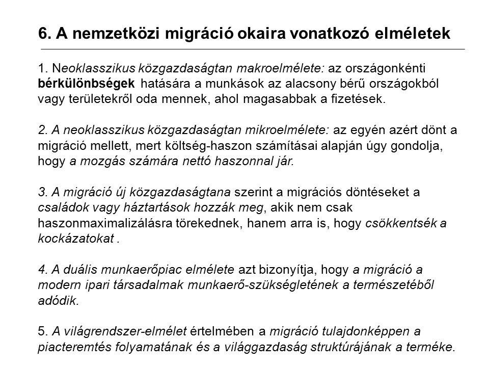 6. A nemzetközi migráció okaira vonatkozó elméletek 1.