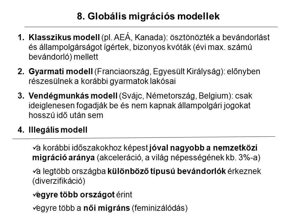 8. Globális migrációs modellek 1.Klasszikus modell (pl.