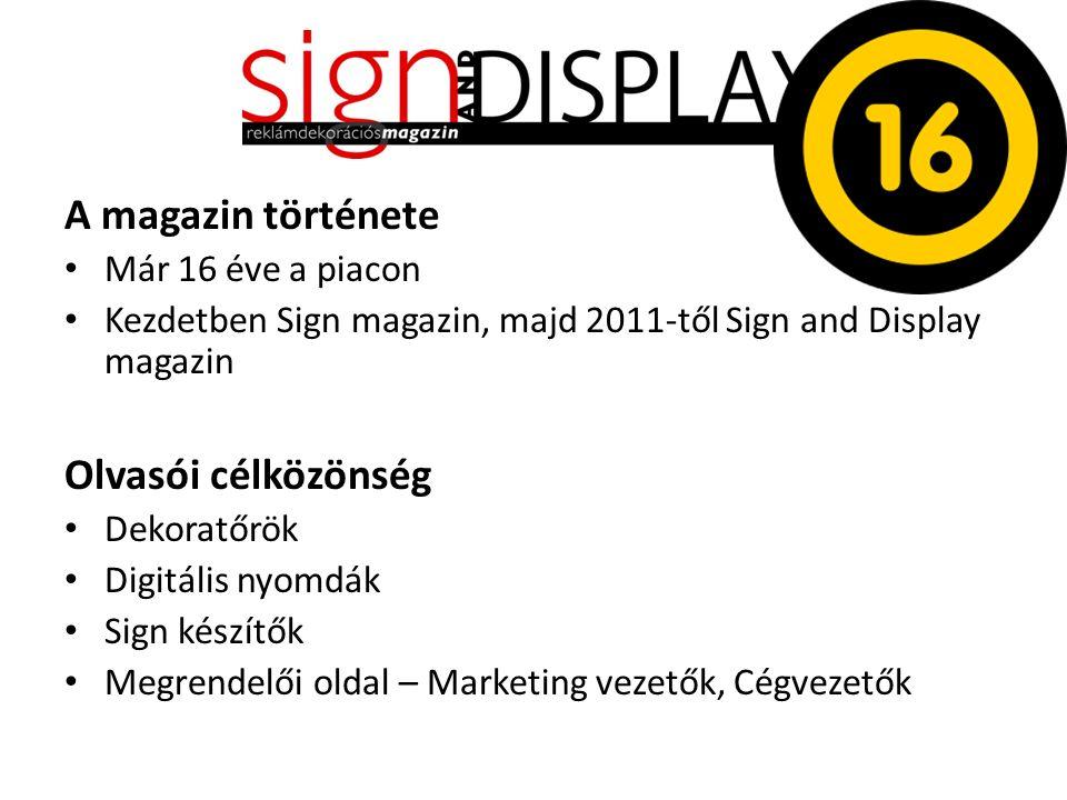 A magazin története Már 16 éve a piacon Kezdetben Sign magazin, majd 2011-től Sign and Display magazin Olvasói célközönség Dekoratőrök Digitális nyomdák Sign készítők Megrendelői oldal – Marketing vezetők, Cégvezetők