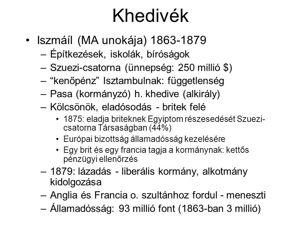 Khedivék Iszmáíl (MA unokája) 1863-1879 –Építkezések, iskolák, bíróságok –Szuezi-csatorna (ünnepség: 250 millió $) – kenőpénz Isztambulnak: függetlenség –Pasa (kormányzó) h.