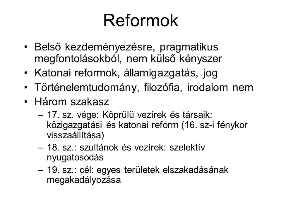 Reformok Belső kezdeményezésre, pragmatikus megfontolásokból, nem külső kényszer Katonai reformok, államigazgatás, jog Történelemtudomány, filozófia, irodalom nem Három szakasz –17.