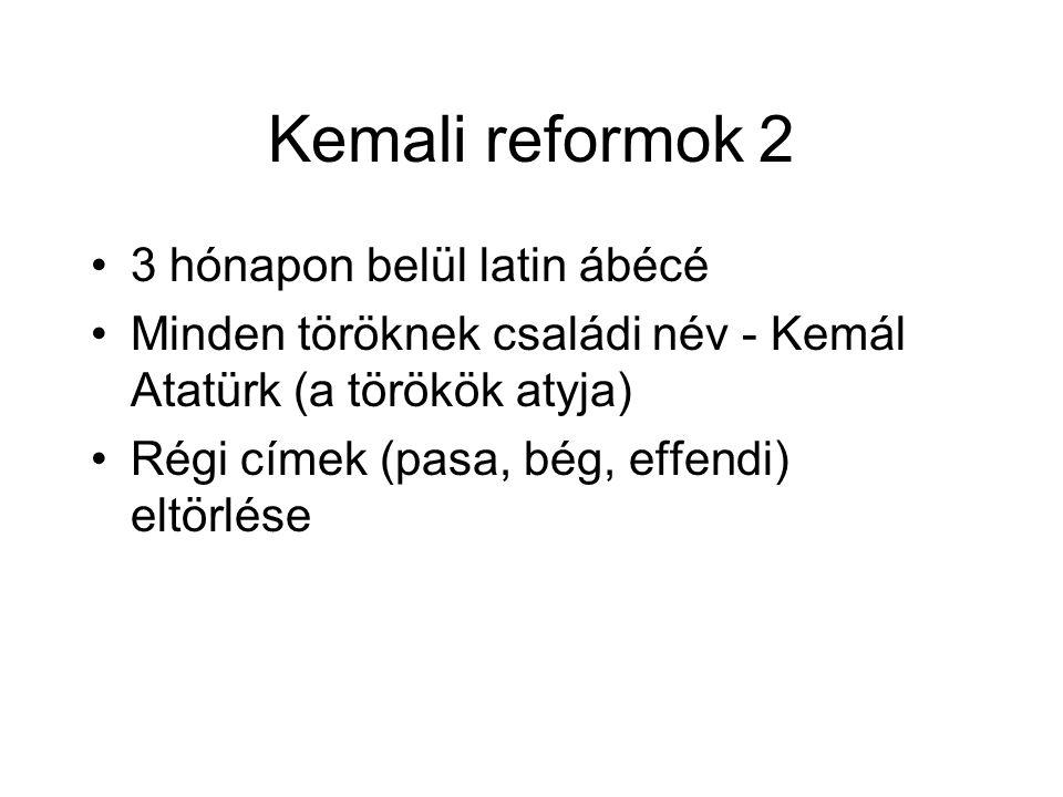 Kemali reformok 2 3 hónapon belül latin ábécé Minden töröknek családi név - Kemál Atatürk (a törökök atyja) Régi címek (pasa, bég, effendi) eltörlése