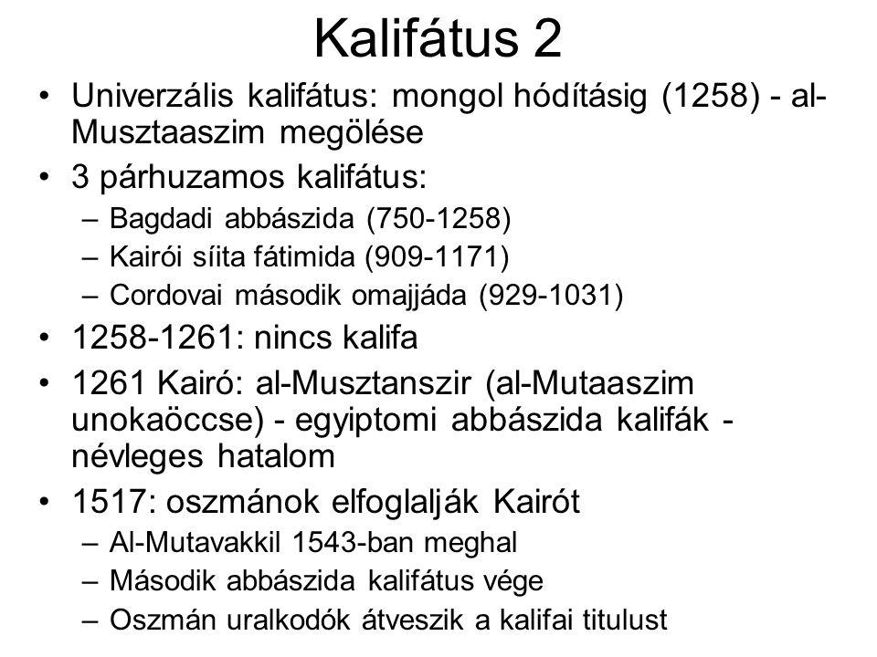 Kalifátus 2 Univerzális kalifátus: mongol hódításig (1258) - al- Musztaaszim megölése 3 párhuzamos kalifátus: –Bagdadi abbászida (750-1258) –Kairói síita fátimida (909-1171) –Cordovai második omajjáda (929-1031) 1258-1261: nincs kalifa 1261 Kairó: al-Musztanszir (al-Mutaaszim unokaöccse) - egyiptomi abbászida kalifák - névleges hatalom 1517: oszmánok elfoglalják Kairót –Al-Mutavakkil 1543-ban meghal –Második abbászida kalifátus vége –Oszmán uralkodók átveszik a kalifai titulust