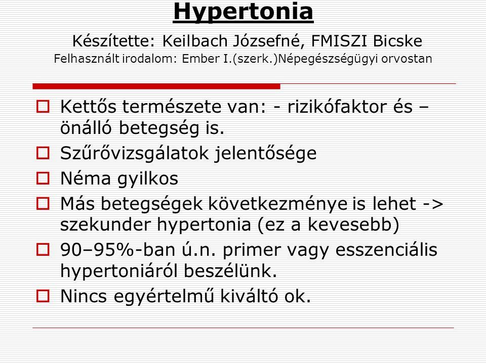 Hypertonia Készítette: Keilbach Józsefné, FMISZI Bicske Felhasznált irodalom: Ember I.(szerk.)Népegészségügyi orvostan  Kettős természete van: - rizikófaktor és – önálló betegség is.