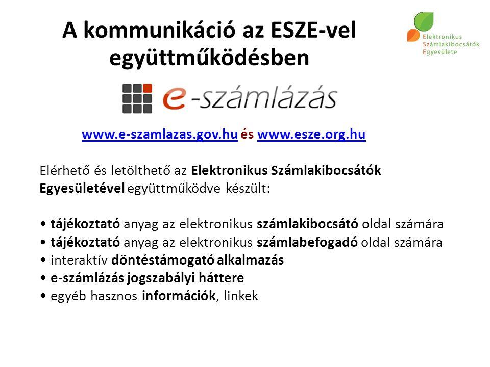 www.e-szamlazas.gov.huwww.e-szamlazas.gov.hu és www.esze.org.huwww.esze.org.hu Elérhető és letölthető az Elektronikus Számlakibocsátók Egyesületével együttműködve készült: tájékoztató anyag az elektronikus számlakibocsátó oldal számára tájékoztató anyag az elektronikus számlabefogadó oldal számára interaktív döntéstámogató alkalmazás e-számlázás jogszabályi háttere egyéb hasznos információk, linkek A kommunikáció az ESZE-vel együttműködésben