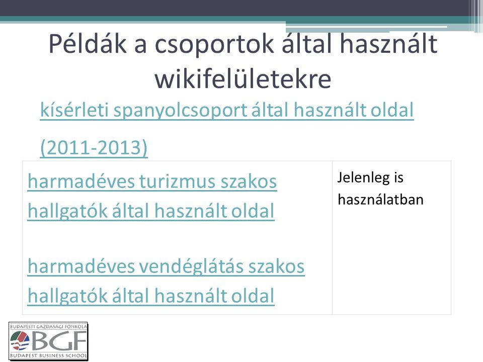 Példák a csoportok által használt wikifelületekre harmadéves turizmus szakos hallgatók által használt oldal harmadéves vendéglátás szakos hallgatók által használt oldal Jelenleg is használatban kísérleti spanyolcsoport által használt oldal (2011-2013)