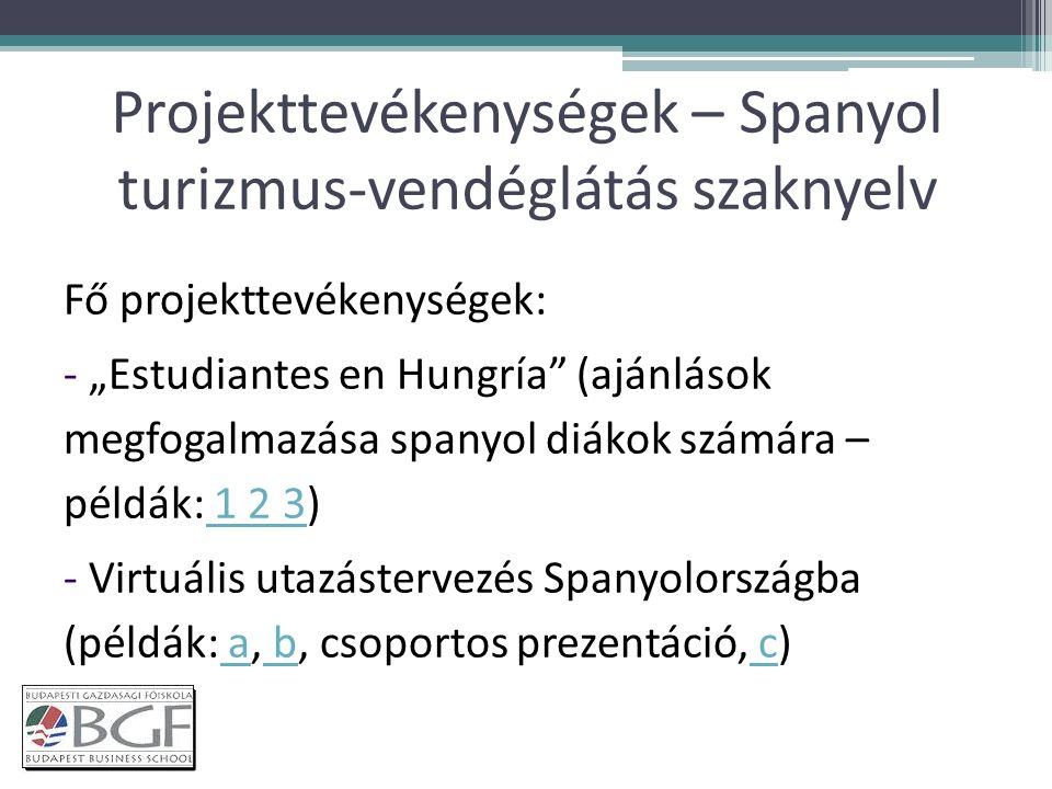 """Projekttevékenységek – Spanyol turizmus-vendéglátás szaknyelv Fő projekttevékenységek: - """"Estudiantes en Hungría (ajánlások megfogalmazása spanyol diákok számára – példák: 1 2 3) 1 2 3 - Virtuális utazástervezés Spanyolországba (példák: a, b, csoportos prezentáció, c) a b c"""
