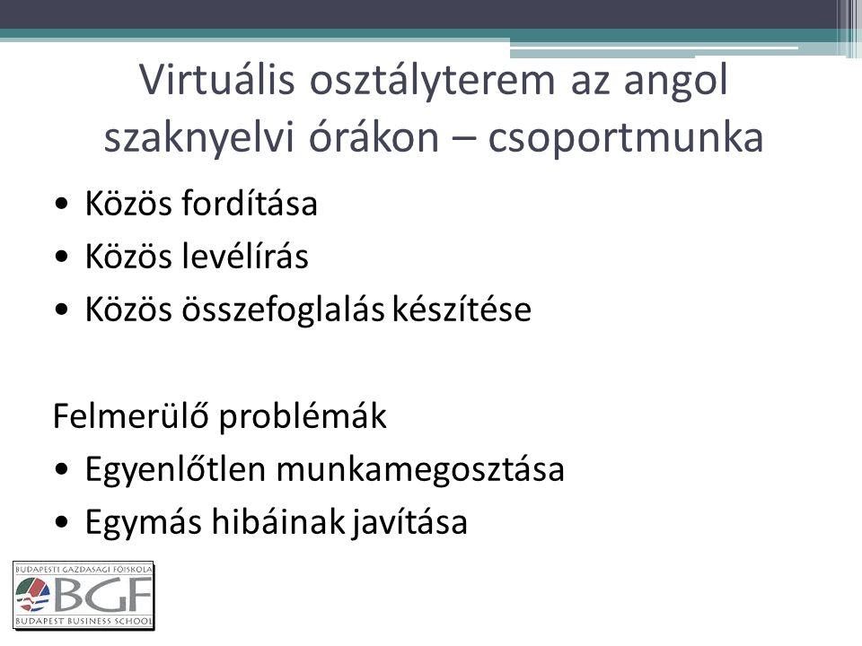 Virtuális osztályterem az angol szaknyelvi órákon – csoportmunka Közös fordítása Közös levélírás Közös összefoglalás készítése Felmerülő problémák Egyenlőtlen munkamegosztása Egymás hibáinak javítása