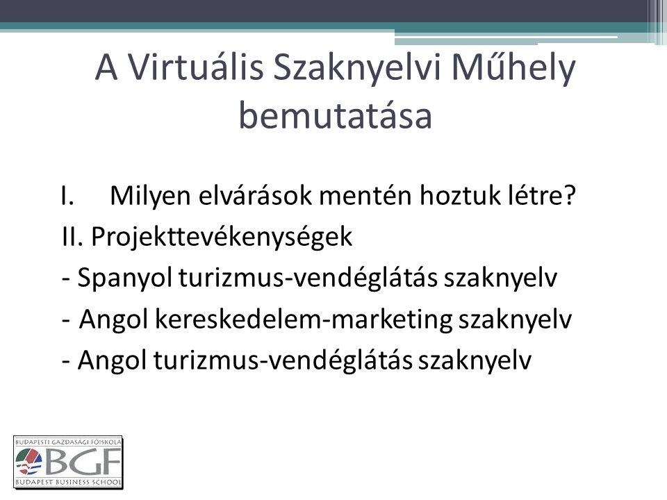 A Virtuális Szaknyelvi Műhely bemutatása I.Milyen elvárások mentén hoztuk létre.