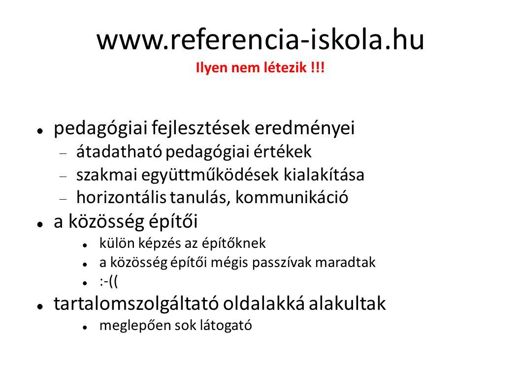 www.referencia-iskola.hu Ilyen nem létezik !!! pedagógiai fejlesztések eredményei  átadatható pedagógiai értékek  szakmai együttműködések kialakítás