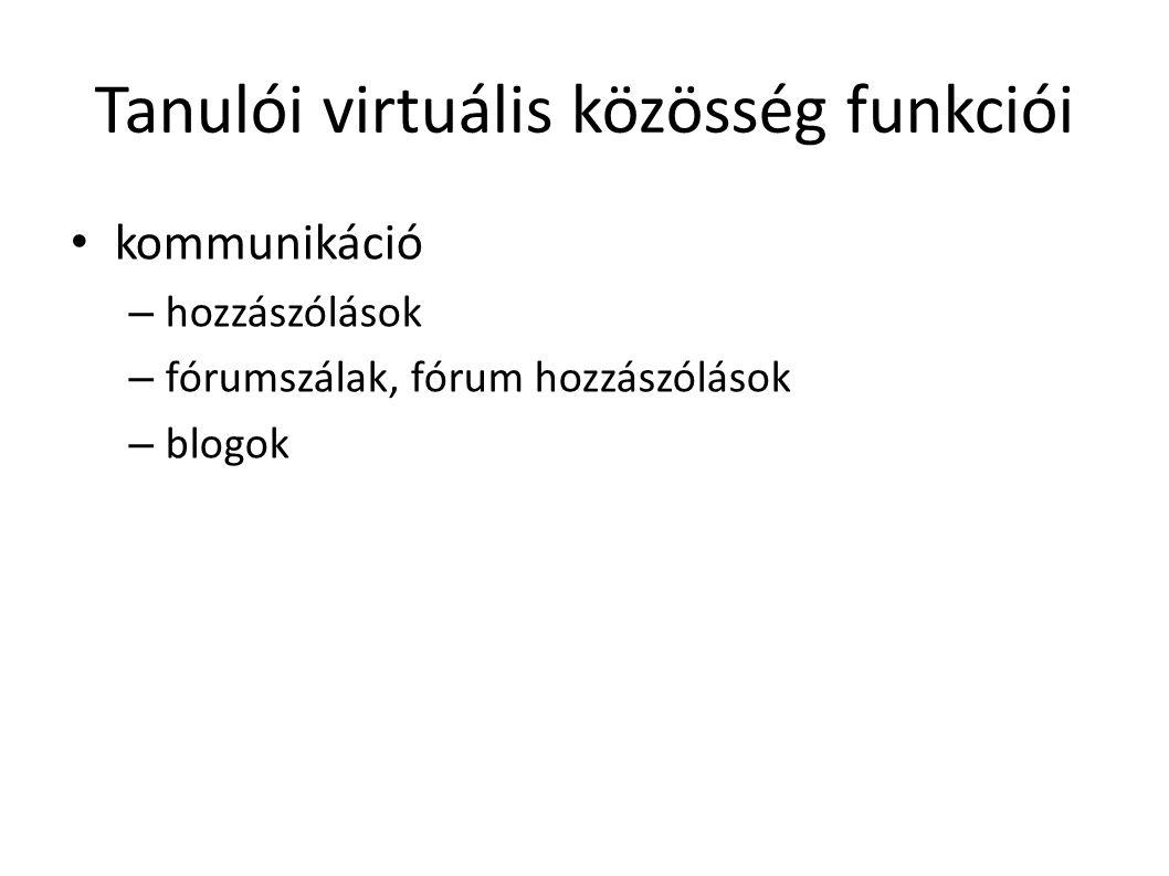 Tanulói virtuális közösség funkciói kommunikáció – hozzászólások – fórumszálak, fórum hozzászólások – blogok
