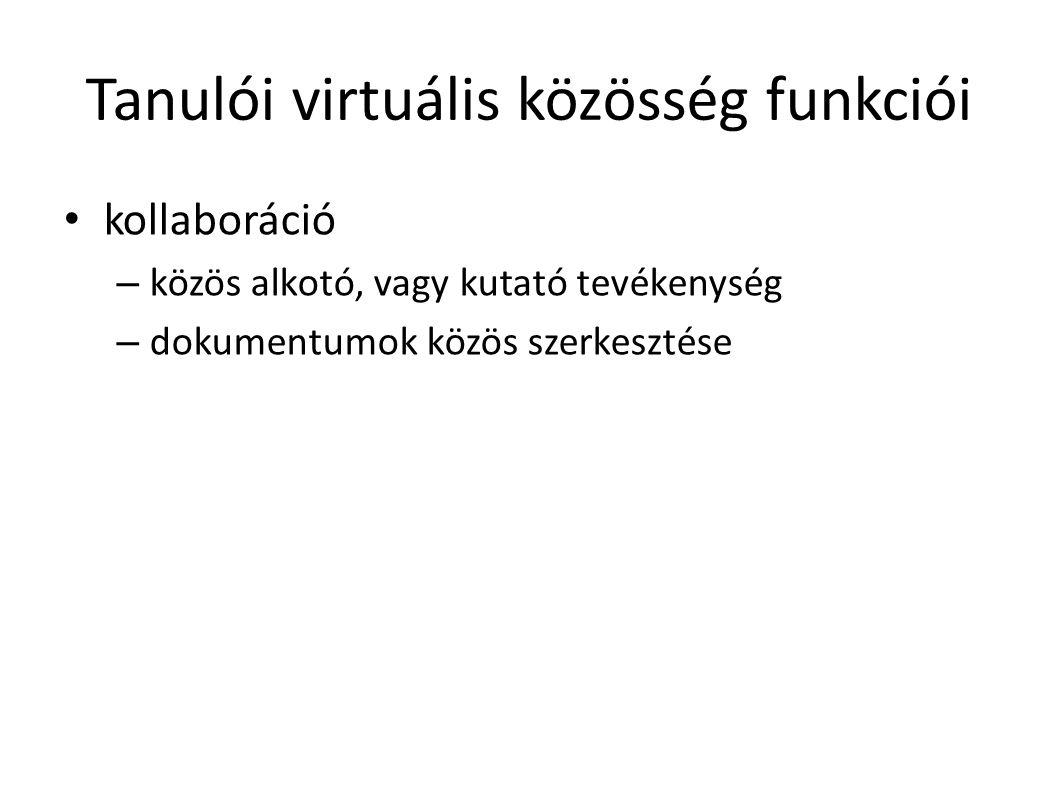 Tanulói virtuális közösség funkciói kollaboráció – közös alkotó, vagy kutató tevékenység – dokumentumok közös szerkesztése