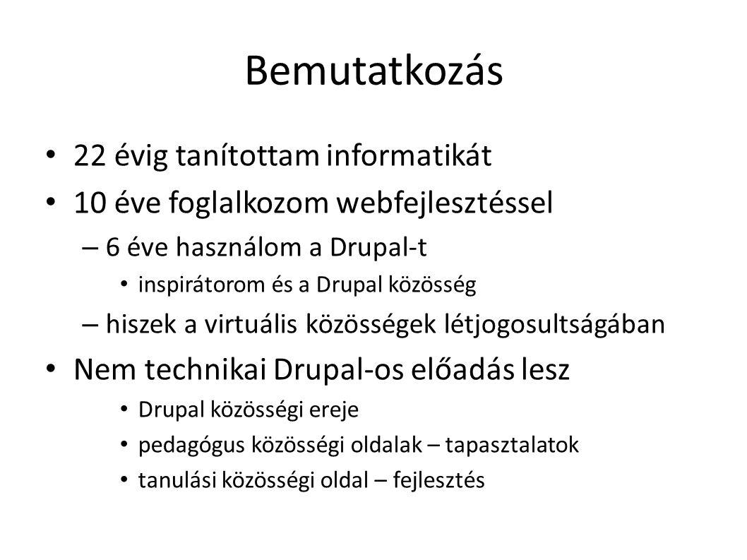 Drupal története DriesBuytaert közösség kapcsolattartás kommunikáció Történet dorp.org –> drop.org drop.org – a nyílt PHP forráskód 2001.