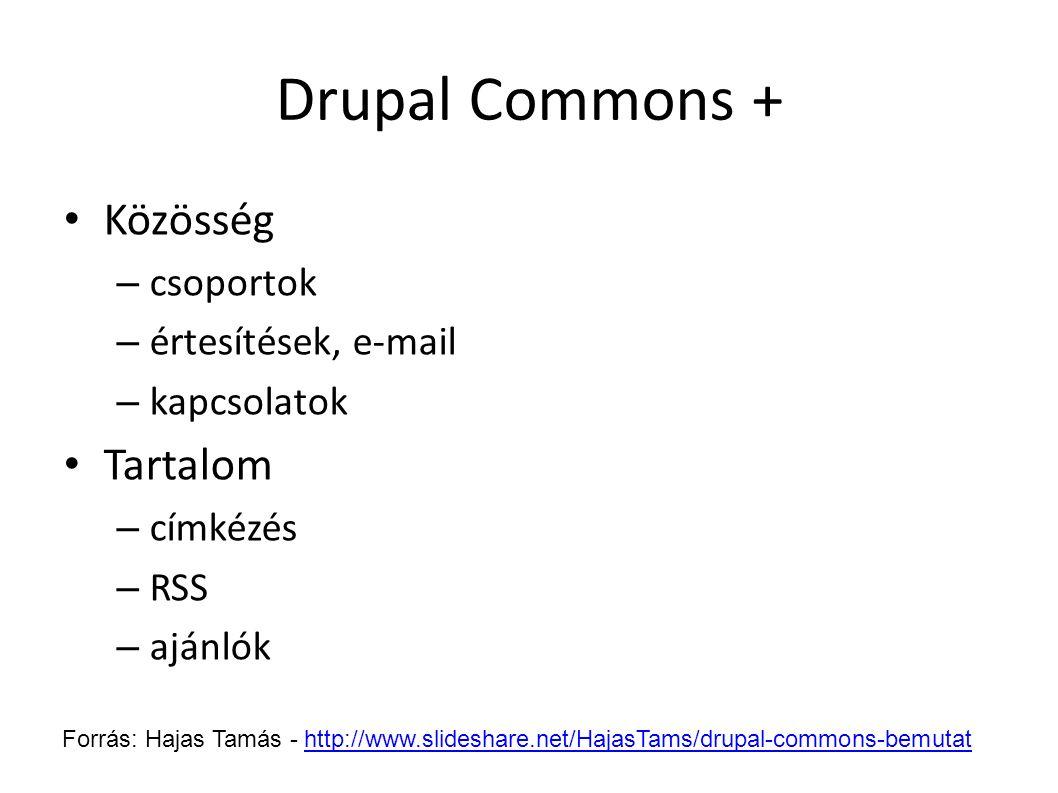 Drupal Commons + Közösség – csoportok – értesítések, e-mail – kapcsolatok Tartalom – címkézés – RSS – ajánlók Forrás: Hajas Tamás - http://www.slidesh