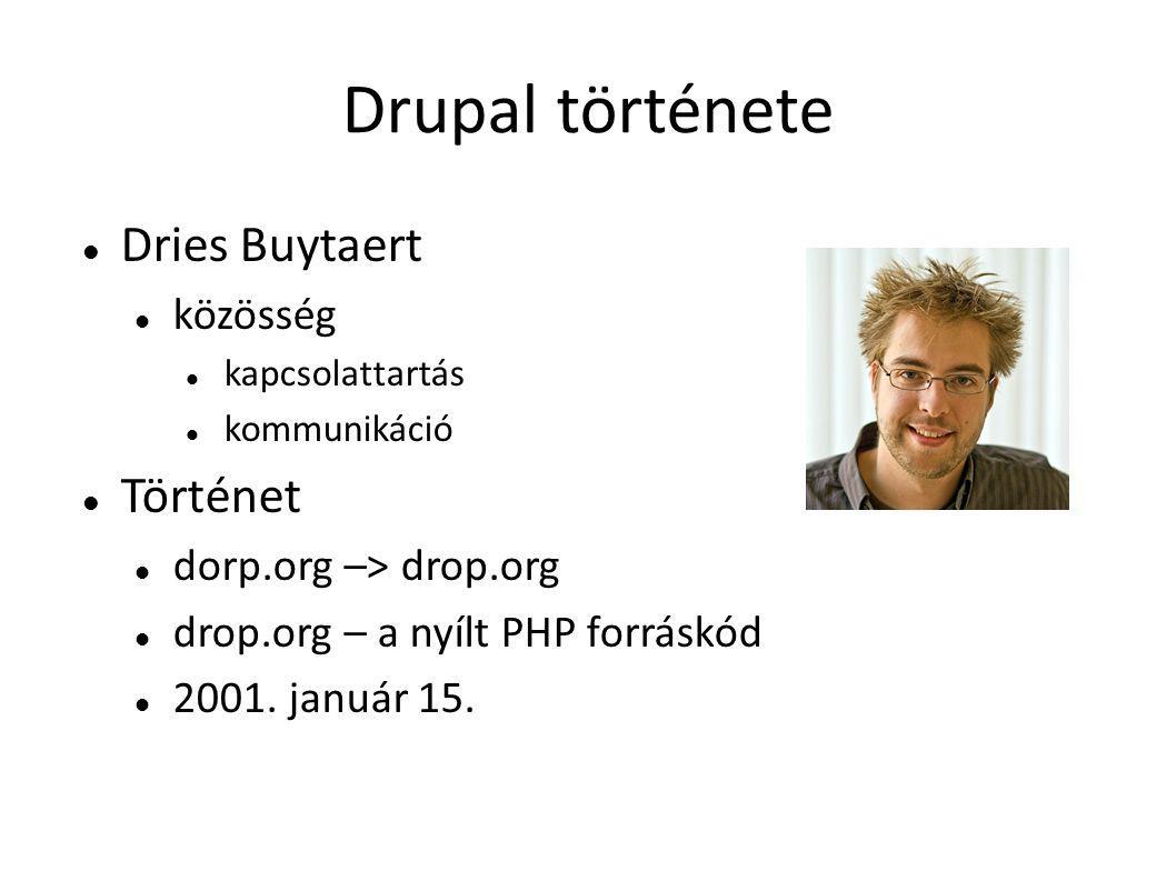 Drupal története DriesBuytaert közösség kapcsolattartás kommunikáció Történet dorp.org –> drop.org drop.org – a nyílt PHP forráskód 2001. január 15.
