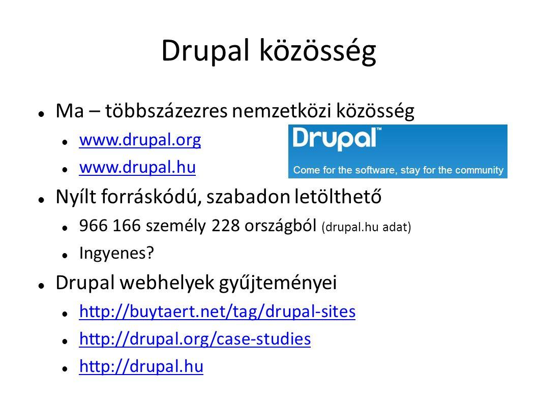 Drupal közösség Ma – többszázezres nemzetközi közösség www.drupal.org www.drupal.hu Nyílt forráskódú, szabadon letölthető 966 166 személy 228 országbó