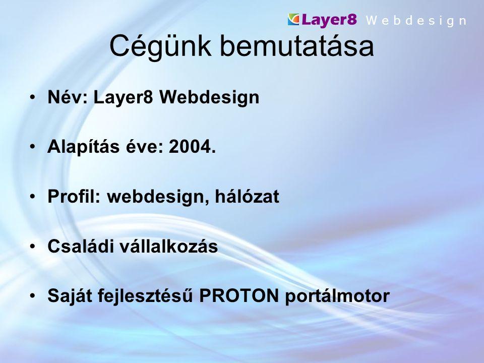 Cégünk bemutatása Név: Layer8 Webdesign Alapítás éve: 2004.