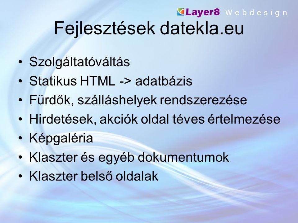 Fejlesztések datekla.eu Layer8 W e b d e s i g n Szolgáltatóváltás Statikus HTML -> adatbázis Fürdők, szálláshelyek rendszerezése Hirdetések, akciók oldal téves értelmezése Képgaléria Klaszter és egyéb dokumentumok Klaszter belső oldalak