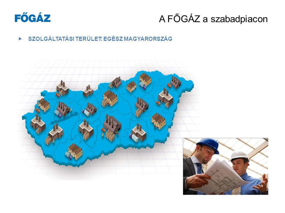 A FŐGÁZ az egyetemes szolgáltatásban  LAKOSSÁGI ÉS NEM LAKOSSÁGI ÜGYFELEK  BUDAPEST + 10 MEGYE 800 000 ügyfél