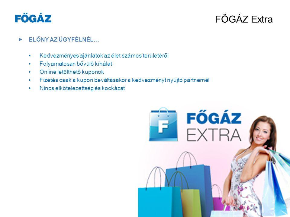 FŐGÁZ Extra Olyan kuponos weboldal, amelyen keresztül a FŐGÁZ és az üzleti partnerei által nyújtott kedvezményes termékeket és szolgáltatásokat vehetik igénybe a FŐGÁZ ügyfelei.