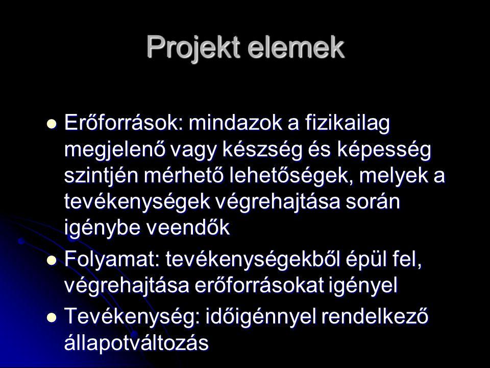 Projekt elemek Erőforrások: mindazok a fizikailag megjelenő vagy készség és képesség szintjén mérhető lehetőségek, melyek a tevékenységek végrehajtása
