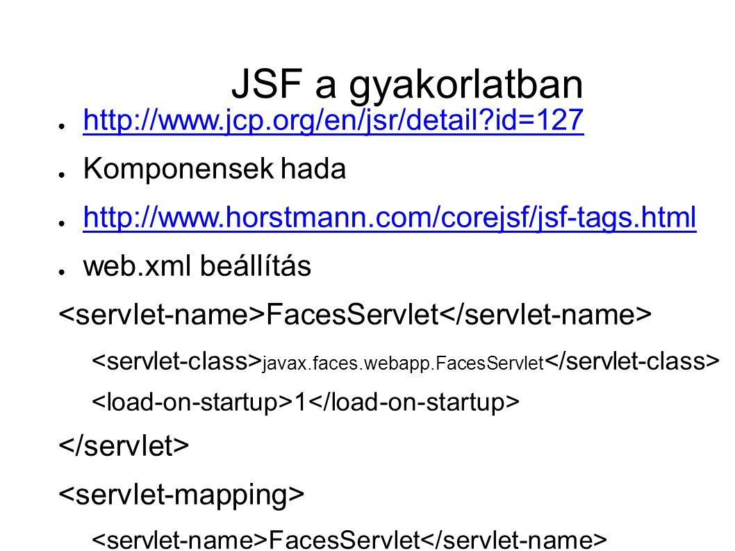 JSF a gyakorlatban ● http://www.jcp.org/en/jsr/detail id=127 http://www.jcp.org/en/jsr/detail id=127 ● Komponensek hada ● http://www.horstmann.com/corejsf/jsf-tags.html http://www.horstmann.com/corejsf/jsf-tags.html ● web.xml beállítás FacesServlet javax.faces.webapp.FacesServlet 1 FacesServlet /faces/*
