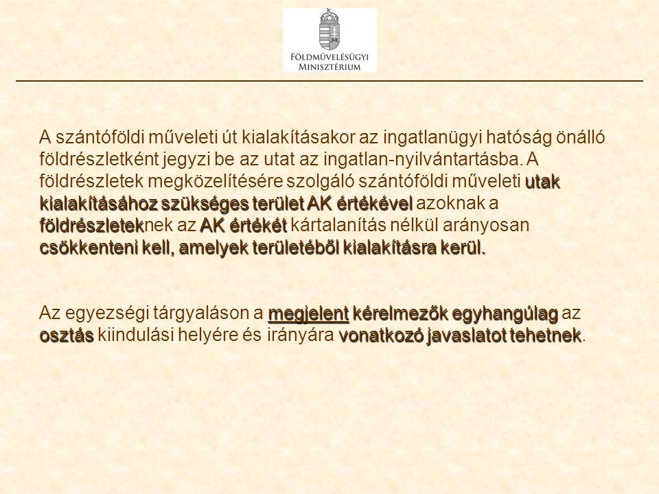 utak kialakításához szükséges terület AK értékével földrészletekAK értékét csökkenteni kell, amelyekterületéből kialakításra kerül. A szántóföldi műve
