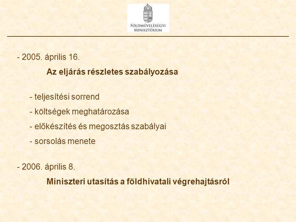- 2005. április 16. Az eljárás részletes szabályozása - teljesítési sorrend - költségek meghatározása - előkészítés és megosztás szabályai - sorsolás