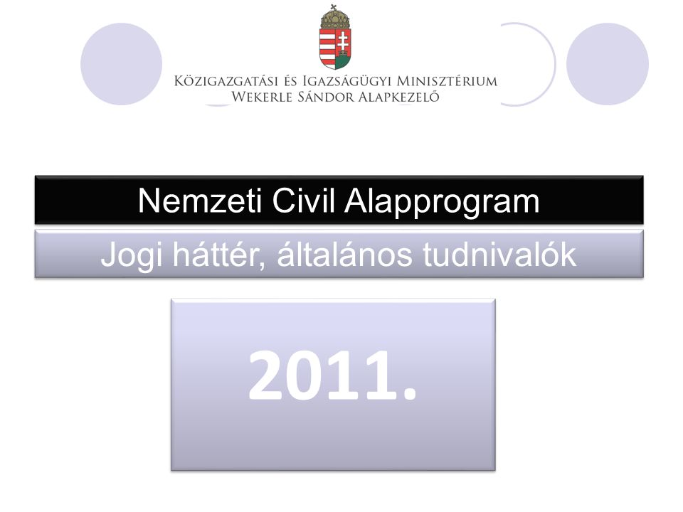 Nemzeti Civil Alapprogram Jogi háttér, általános tudnivalók 2011.