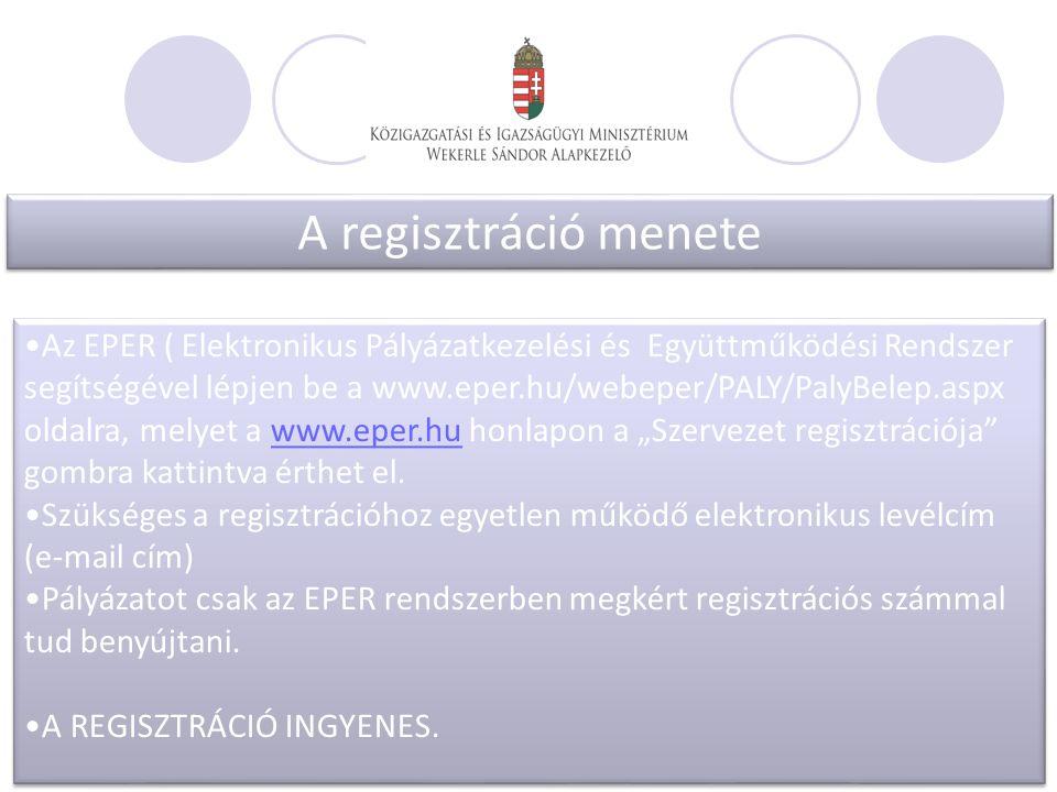 """A regisztráció menete Az EPER ( Elektronikus Pályázatkezelési és Együttműködési Rendszer segítségével lépjen be a www.eper.hu/webeper/PALY/PalyBelep.aspx oldalra, melyet a www.eper.hu honlapon a """"Szervezet regisztrációja gombra kattintva érthet el.www.eper.hu Szükséges a regisztrációhoz egyetlen működő elektronikus levélcím (e-mail cím) Pályázatot csak az EPER rendszerben megkért regisztrációs számmal tud benyújtani."""