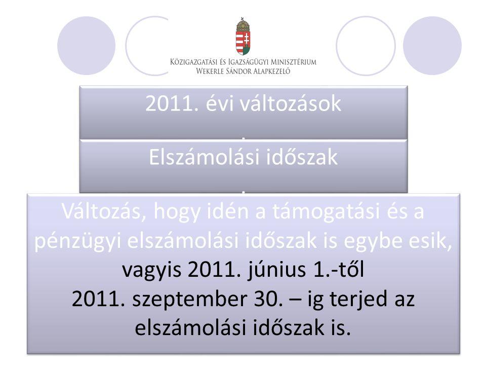 2011. évi változások. 2011. évi változások. Elszámolási időszak.
